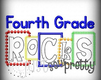 Fourth Grade Rocks Blocks Embroidery Applique Design