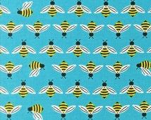 Buzzworthy 1 FQ Cotton Fabric Sky Color, Sold Out Bright and Buzzy Collection by Laurie Wisbrun for Robert Kaufman Fabric, Bee Fabric