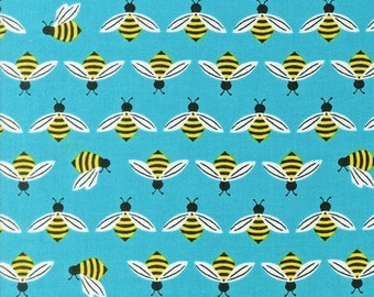 1 FQ Buzzworthy Cotton Fabric Sky Color, Sold Out Bright and Buzzy Collection by Laurie Wisbrun for Robert Kaufman Fabric, Bee Fabric