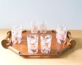 Vintage Mid Century Drink and Snack Carrier • Set of 8 Mid Century Glasses with Plywood Serving Tray