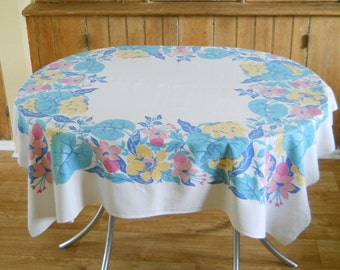 Vintage Floral Tablecloth • Startex Mid Century Tablecloth • Colorful Aqua Blue Yellow Pink