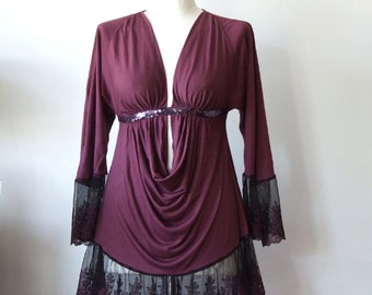 Bare back top, V-neck tunic blouse, draped jersey top & vintage lace, wine violet top , sexy festival blouse, bohemian clothing, party top