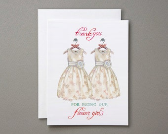 SALE - Twin Flower Girl Thank You Card