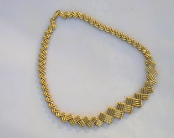 Vintage Napier Goldtone Modernist Retro Ornate Necklace