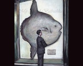 Sunfish, Original Painting, Marine Biology, Museum, Natural History, Man in a Museum, Ocean Sunfish, Model, Taxidermy, Fish, Big Fish