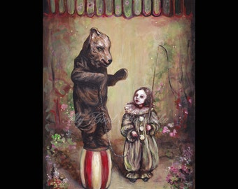 The Trained Bear, Original Painting, Bear Costume, Mask, Circus, Child, Circus Performers, Fairy Tale, Folk Tale, Surreal, Illustration
