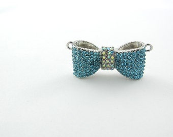 Dimensional Blue Turquoise Rhinestone Bow Pendant Double Link