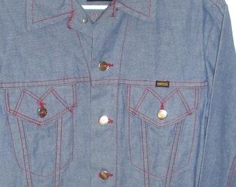 rare vintage MAVERICK BLUE BELL 1960s light blue denim with red stitching jean jacket size 40
