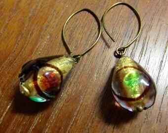 Glass Teardrop Earring, Baroque Style Murano Glass Bead