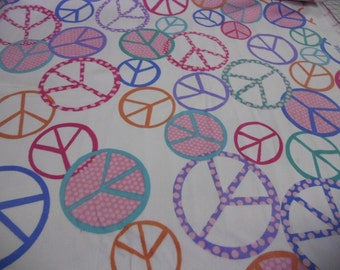 "SOFTIE Timeless Treasures version of minky fabric peace signs 1 yard x 58"" wide"