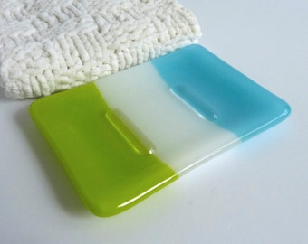 Fused Glass Soap Dish in Cyan Blue, White and Spring Green