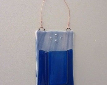 Blue Fused Glass Wall Pocket Vase by BPRDesigns