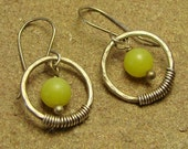 Olive Jade Wrapped Sterling Silver Round Circle Hoop Dangle Earrings
