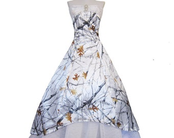 Christy the White Satin Alternative Wedding Gown with camo print flowing with petticoat............custom in your size and color preference