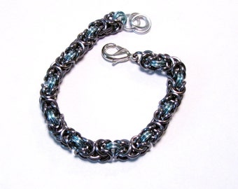Black Ice and Sky Blue Chainmaille Byzantine Bracelet - Free Shipping Canada and Continental US