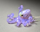 Ocean Purple Octopus Pendant with White spots on Silver necklace or adjustable cord for gals or guys