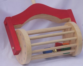 Toy Lawn Mower Push Toy - Handcrafted Wooden Red Lawn Mower Push Toy