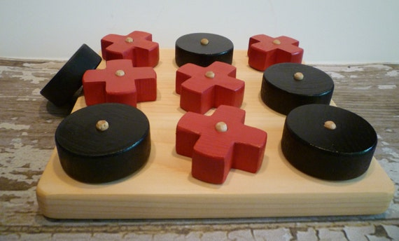 Toy Wooden Tic-Tac-Toe Game Red and Black or Hugs and Kisses
