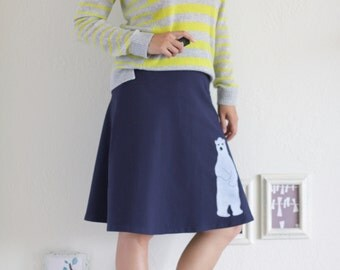Cute Skirts for Women, Midnight Blue Cotton Skirt, Midi A-line Fold Over Knee Length Skirt, Supre cute Applique Skirt - Sweet Polar Bear