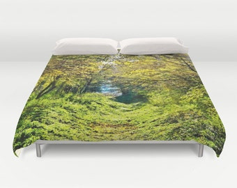 Forest Duvet Cover, In The Woods, Green Bedding, Trees Bedspread, Decorative, Fantasy Bedding, Unique Design, Comforter Cover, Bedroom