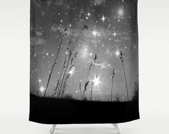 Starry Night Shower Curtain, Stars Bathroom, Black and White Home Decor, Grass Shower Curtain, Nature Home Decor, Whimsical, Night Sky, Noir