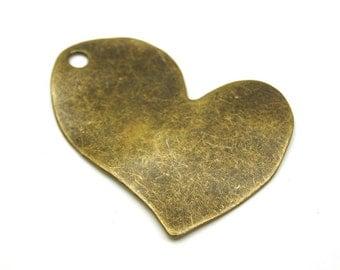 1pc- Antique Bronze Plated Heart Pendant -60x45 mm-(804-024AB)