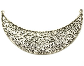1 pc -Matte Silver Plated Base Necklace Bar- 120x35mm-(401-031SP)