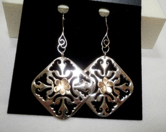 Bright Sterling and Gold Lacy Square Dangle Earrings