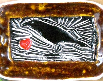Woodland Raven Love Dish - HandMade Rustic Tribal Black & Gold Brown Crow Bird, Red Heart Linocut Stamped Small Tray Ring Jewelry Holder
