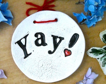 Ring Bowl - YAY - HandMade Rustic Eco Wedding Ring Bearer Tray - Organic Letterpress Stamped Jewelry Dish, Soap Holder, Ring Catchall