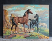 Large Fifties Craftint Vintage Pair of Paint By Number Oil Paintings, Horses Equestrian, Western Boy's Room