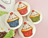 "Handmade Kawaii Colorful Cupcake Cake Circus Carnvial Food Fabric Covered Buttons Fridge Magnets, Flat Backs, 1.25"" 4's"
