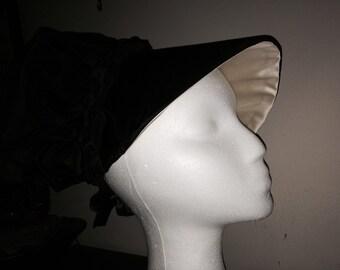 Black Silk Taffeta 18th Century Bonnet With Ivory Silk Satin Brim