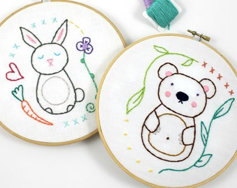 Woodland Animals Bear & Bunny Hand Embroidery Pattern