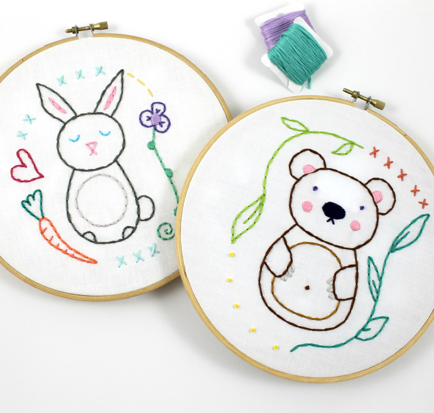 woodland animals bear amp bunny hand embroidery pattern from
