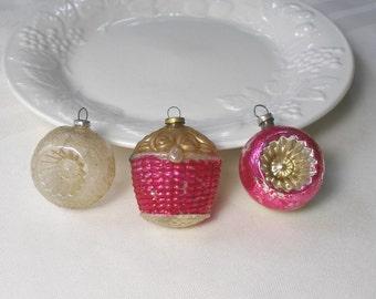 Antique Feather Tree Ornaments Set of 3 Vintage Mercury Glass Christmas German Japan Figural Decorations Basket Indent Reflectors