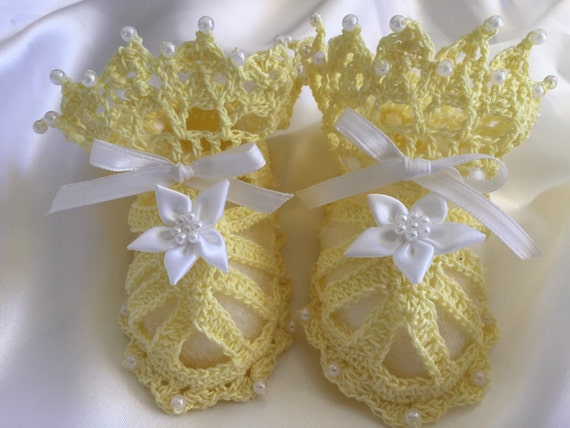 Crocheted baby shoes newborn to three month old baby girl