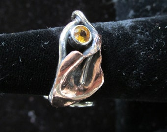 Sterling Silver Brutalist Copper Calla Lily and Yellow Sapphire Spiral adjustable Ring
