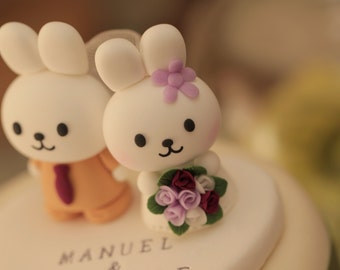 rabbit and bunny Wedding Cake Topper---k917