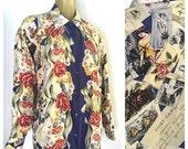 Vintage Silk Blouse, Love Letters Print Blouse, Red Roses Vintage Photographs, Postcards & Mail, Romantic Bohemian Lovely Vintage 90s Blouse
