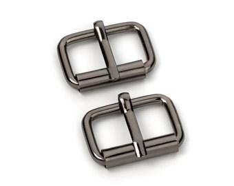 "10pcs - 1"" Roller Pin Belt Buckles - Black Nickel - Free Shipping (ROLLER BUCKLE RBK-115)"