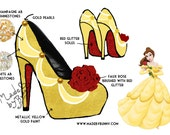 Beauty & The Beast | Belle Inspired | Disney Princess | Glitter, Crystal Rhinestones, Pearls, and Roses | Design for Heels