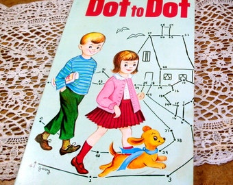 1960 Dot to Dot Coloring Book, Connect the Dots, Children's Activity Book, Whitman, Humpty Dumpty, Drawings by Clarence Biers  (603-15)