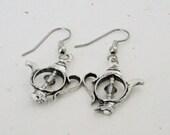 Tea Lover's Earrings, Silver Tea Pot Earrings,  Teapots, Mini Teapot Earrings for a Hostess Gift for Her, Teacher Gift