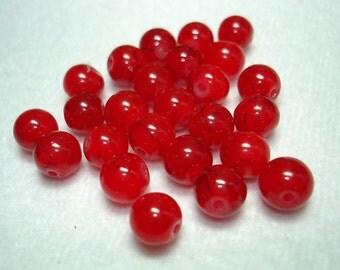Red with Black Splash Glass Round Beads (Qty 25) - B2790