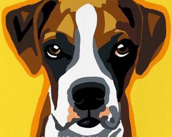 Boxer Puppy Pop Art Dog Painting Print Colorful
