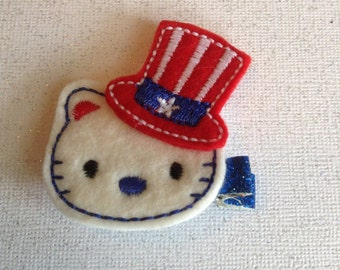 Patriotic Kitty Hair Clip, Girls Summer Hair Clippie, July 4th Toddlers Hair Bow, Red, White and Blue Hair Clip, July Fourth Hair Clippies