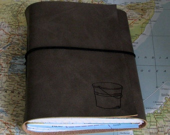 bucket list journal with maps as a travel journal - gray faux leather by tremundo