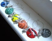 Deluxe Set of 6 Faux Sea Shell Wine Glass Charms