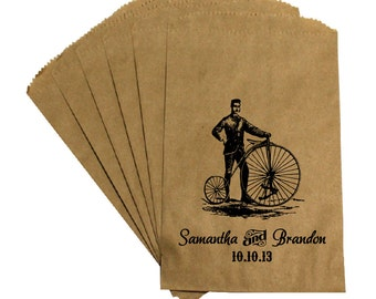 Wedding Favor Candy Bags - Vintage Antique Victorian Rustic Cottage Chic - Penny Farthing Bicycle -  Wedding Kraft Candy Treat Bags